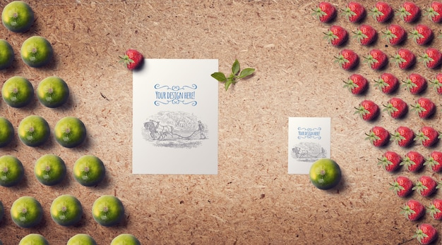 Fruits with sawdust background mockup Premium Psd