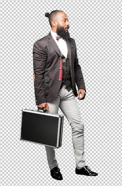 ブリーフケースを持って全身黒人男性 Premium Psd
