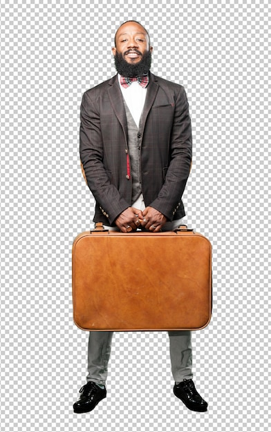 Full body black man holding a leather bag Premium Psd