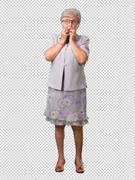 Full body senior woman biting nails, nervous and very anxious and scared for the future, feels panic and stress Premium Psd