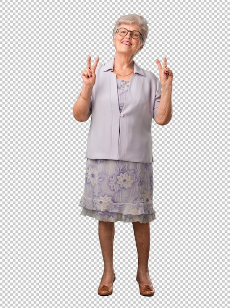 Full body senior woman fun and happy, positive and natural Premium Psd
