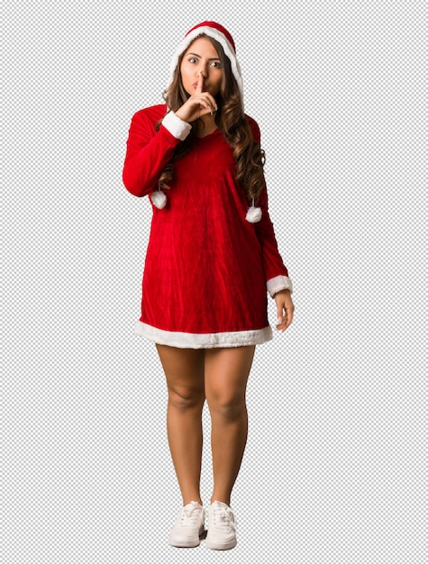 Full body young santa curvy woman keeping a secret or asking for silence Premium Psd