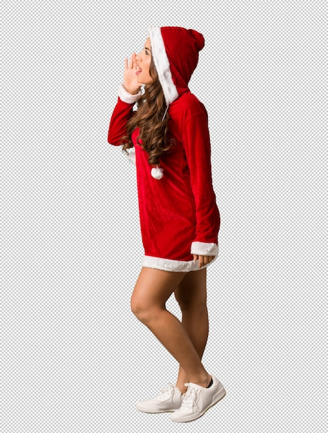 Full body young santa curvy woman whispering gossip undertone Premium Psd