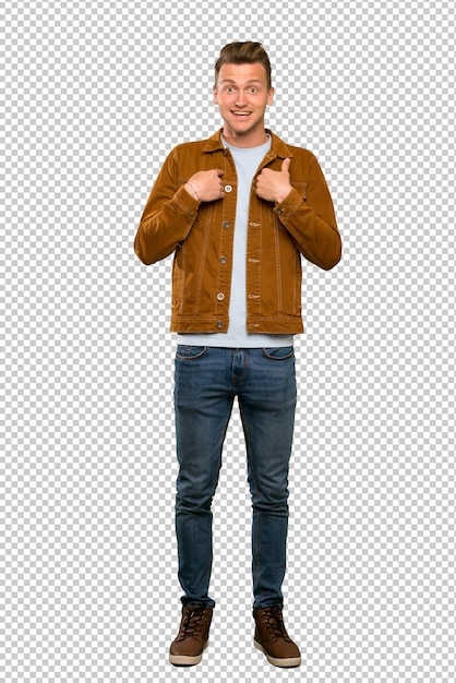 A full length shot of a blonde handsome man with surprise facial expression Premium Psd