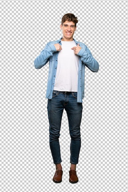 A full length shot of a handsome young man with surprise facial expression Premium Psd