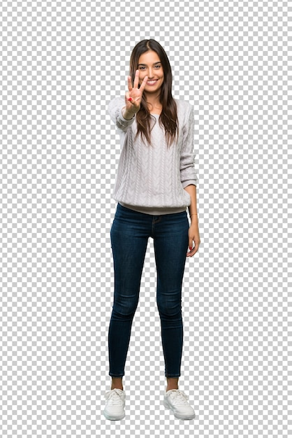 A full length shot of a young hispanic brunette woman happy and counting three with fingers Premium Psd