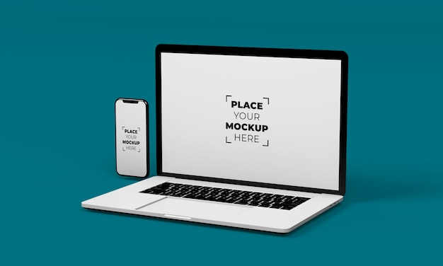 フルスクリーンのスマートフォンとラップトップのモックアップデザイン 無料 Psd