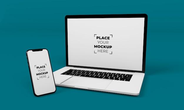 전체 화면 스마트 폰 및 노트북 목업 디자인 무료 PSD 파일