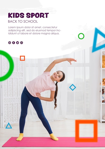 Full shot girl stretching for kids sport template Free Psd