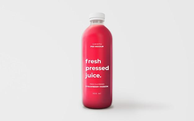 Полностью редактируемый макет стеклянной бутылки с клубничным соком Бесплатные Psd