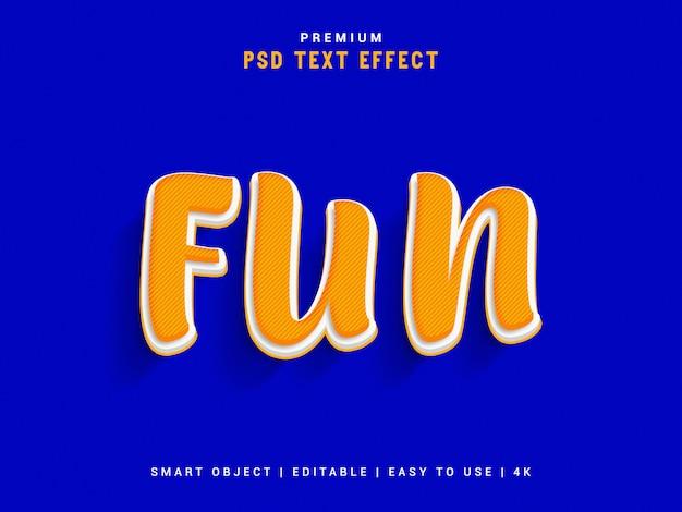 Fun psd text effect, 3d реалистичный шаблон, стиль текста. Premium Psd