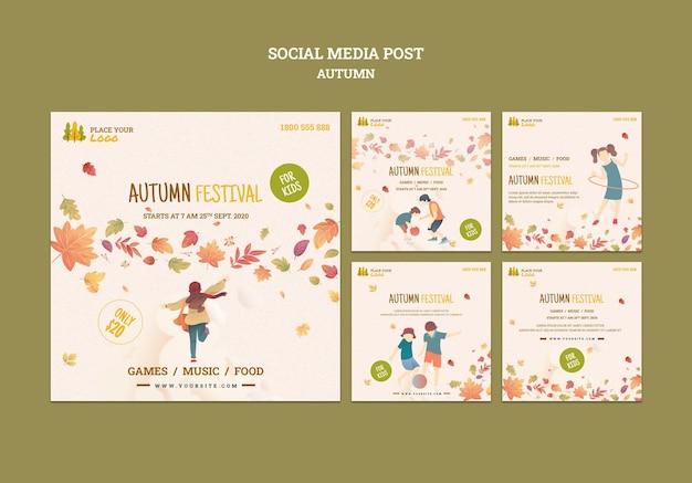 秋の子供向けフェスティバルで楽しい時間をソーシャルメディアに投稿 無料 Psd