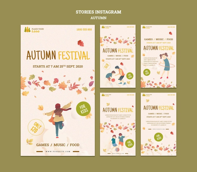 Fun time at autumn festival for kids instagram stories Free Psd