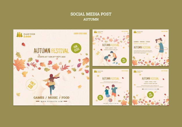 Fun time at autumn festival for kids social media post Free Psd