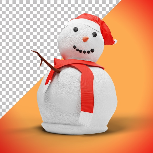 Funny 3d snowman character with red hat and scarf Premium Psd
