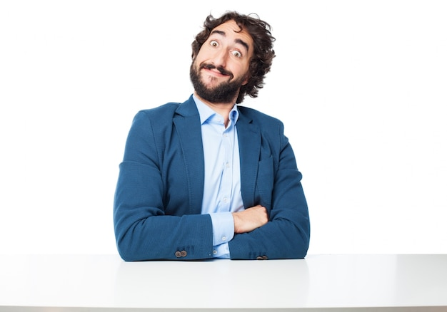 Funny worker sitting with crossed arms Free Psd