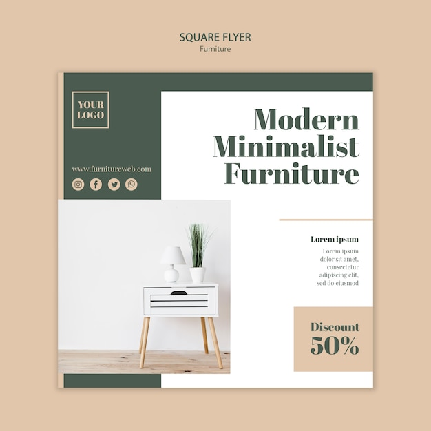 Furniture concept square flyer template Free Psd