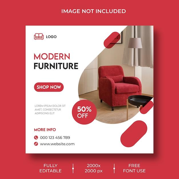 Furniture instagram social media post template Free Psd