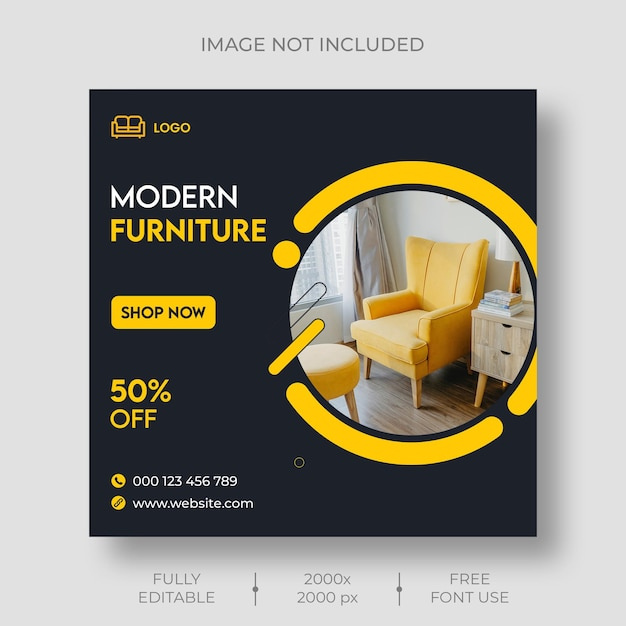 Furniture instagram and social media template Free Psd