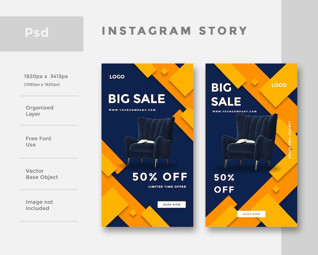 Furniture instagram story ad  template Premium Psd