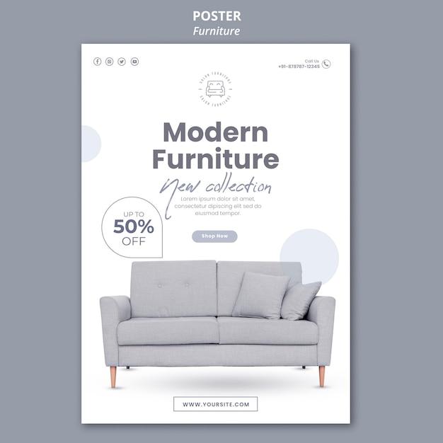 Tema del modello di poster di mobili Psd Gratuite