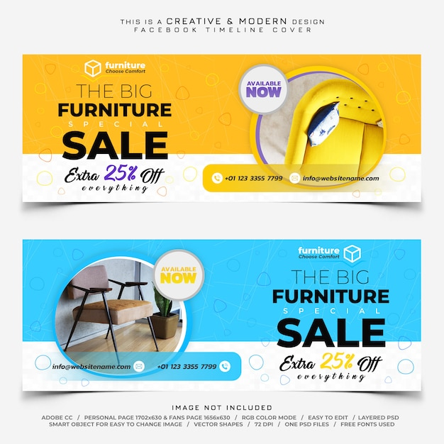 Furniture sale facebook timeline cover banner Premium Psd
