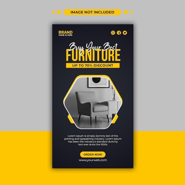 Furniture sale instagram stories ads banner design template