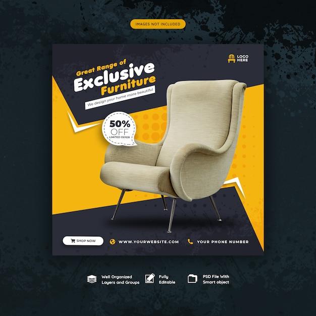 Furniture for sale social media post or banner template Premium Psd