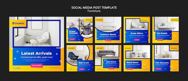 Furniture sale social media post template Premium Psd