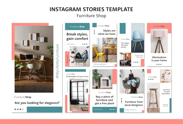 Furniture shop concept instagram stories template Free Psd