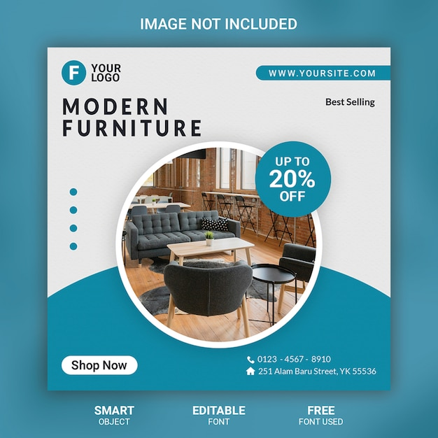 Furniture social media post template banner Premium Psd