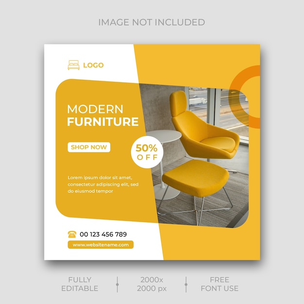 Furniture social media post template Premium Psd