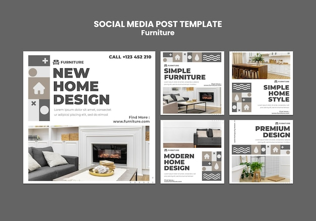 Furniture social media post Premium Psd