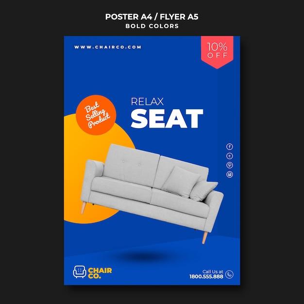 Modello di poster pubblicitario del negozio di mobili Psd Gratuite