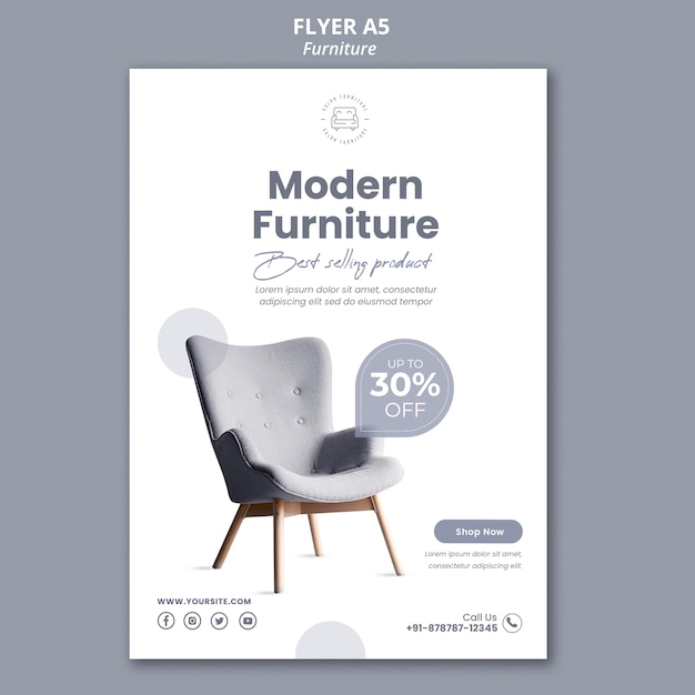 Furniture store flyer template Free Psd
