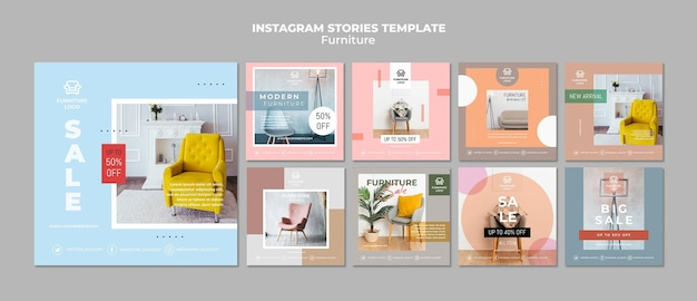 Furniture store instagram post template Free Psd