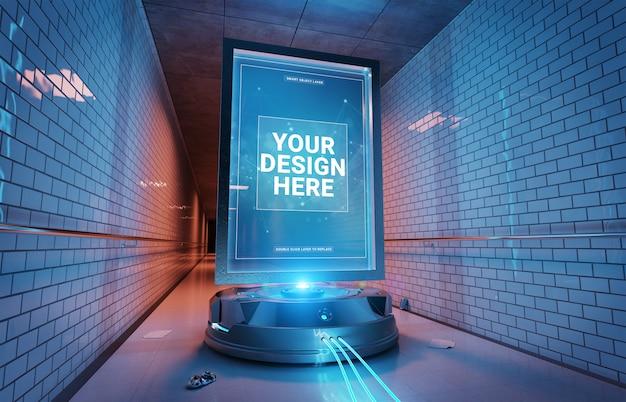 Futuristic billboard in underground tunnel mockup Premium Psd