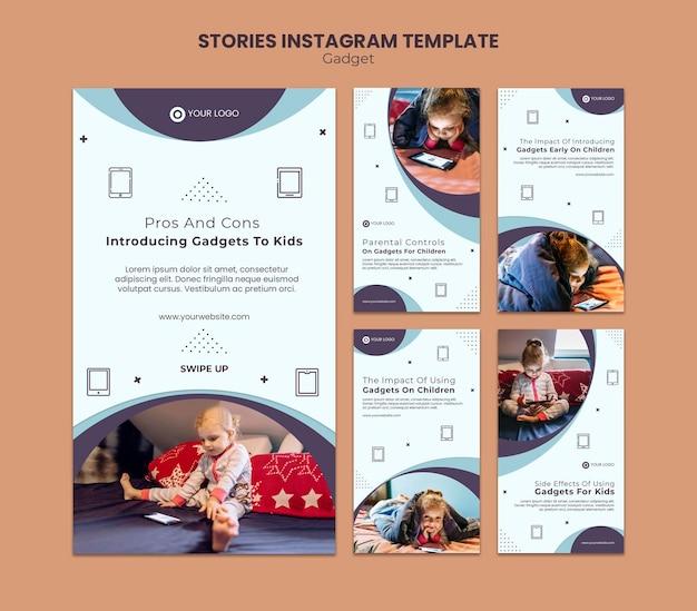子供のinstagramストーリーへのガジェットの影響 Premium Psd