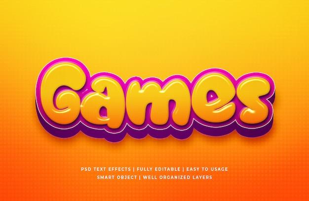 Игры мультфильм 3d эффект стиля текста Premium Psd