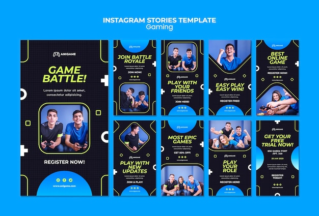 Storie instagram concetto di gioco Psd Gratuite