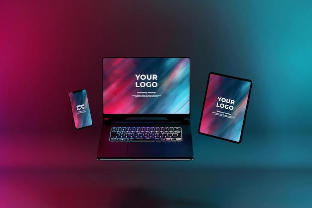 Мокап игрового ноутбука с rgb-светодиодной клавиатурой Premium Psd