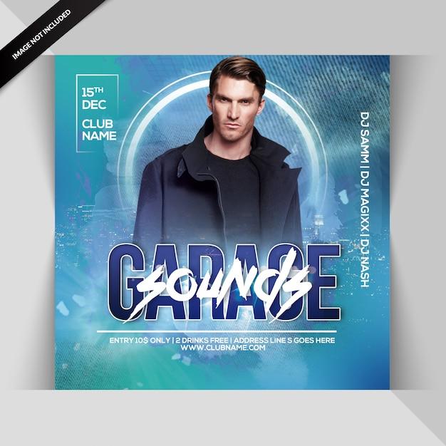 Garage sounds party flyer Premium Psd
