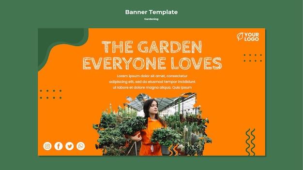 Шаблон баннерной концепции садоводства Бесплатные Psd