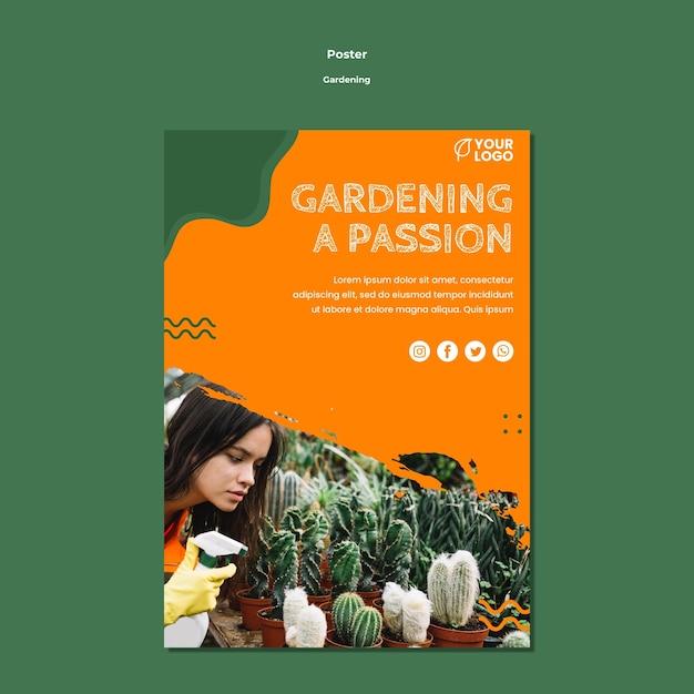 Modello di poster concetto di giardinaggio Psd Gratuite