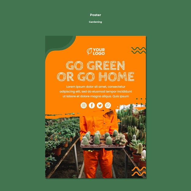 Шаблон плаката садоводства концепции Бесплатные Psd