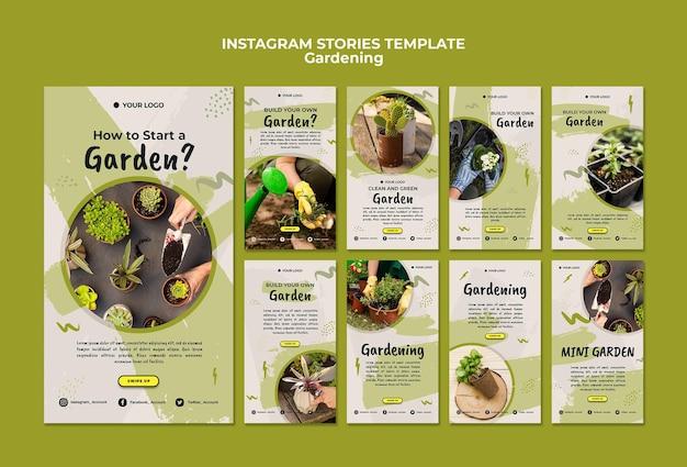 Modello di storie di instagram di giardinaggio Psd Gratuite