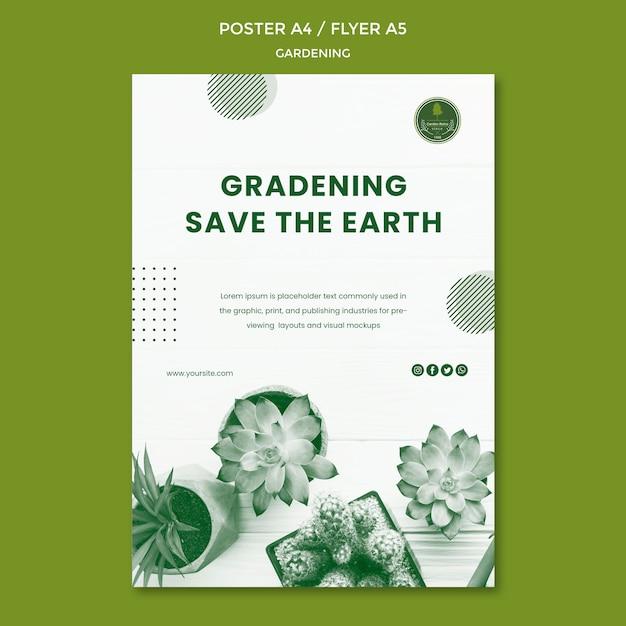 Садоводство плакат шаблон концепции Бесплатные Psd