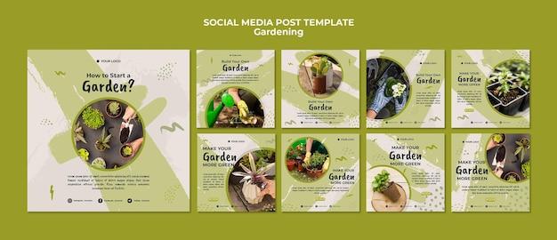 Modello di post di social media giardinaggio Psd Gratuite