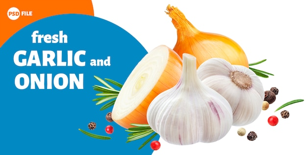 Garlic, onion and rosemary herbs Premium Psd