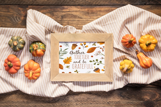 Gather together and be grateful mock-up quote top view Free Psd